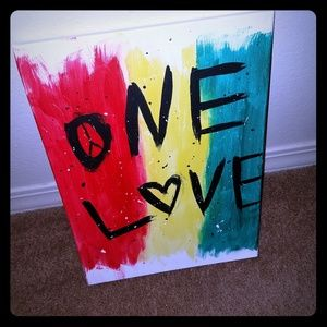 Hand painted  one love Bob Marley canvas